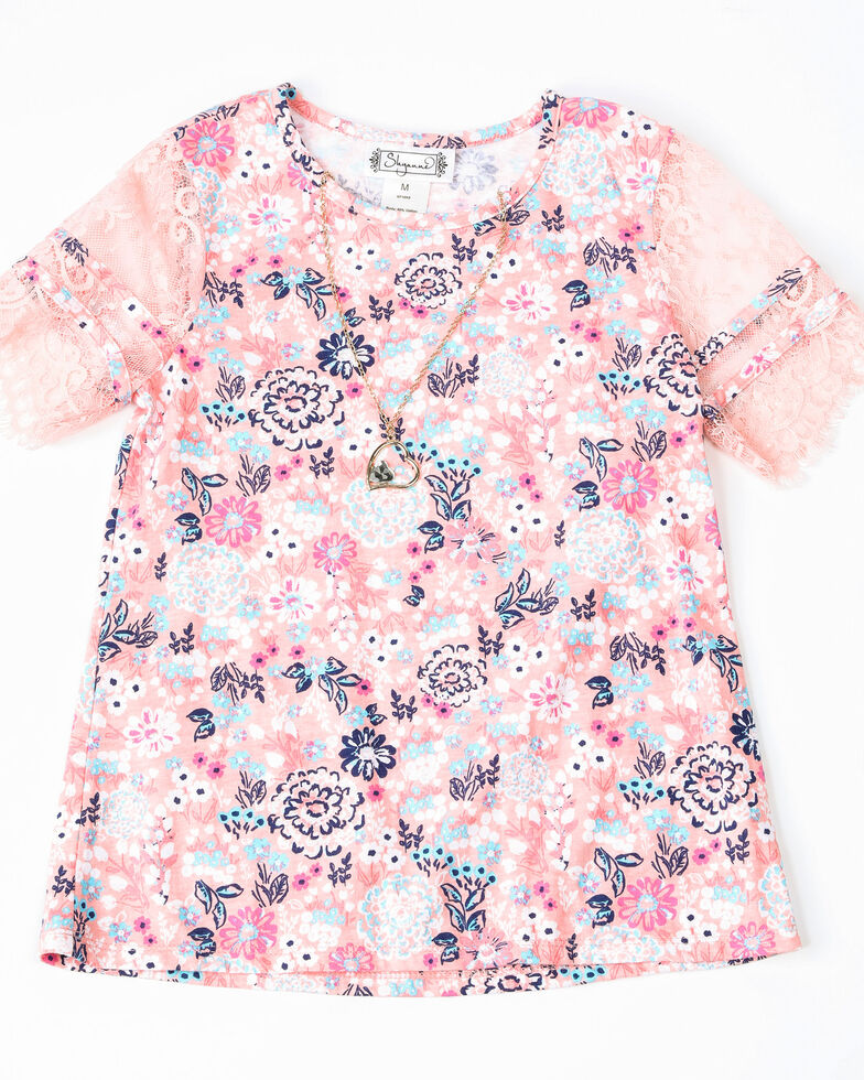 Shyanne Girls' Floral Print Knit Pull On Short Sleeve Shirt , Pink, hi-res