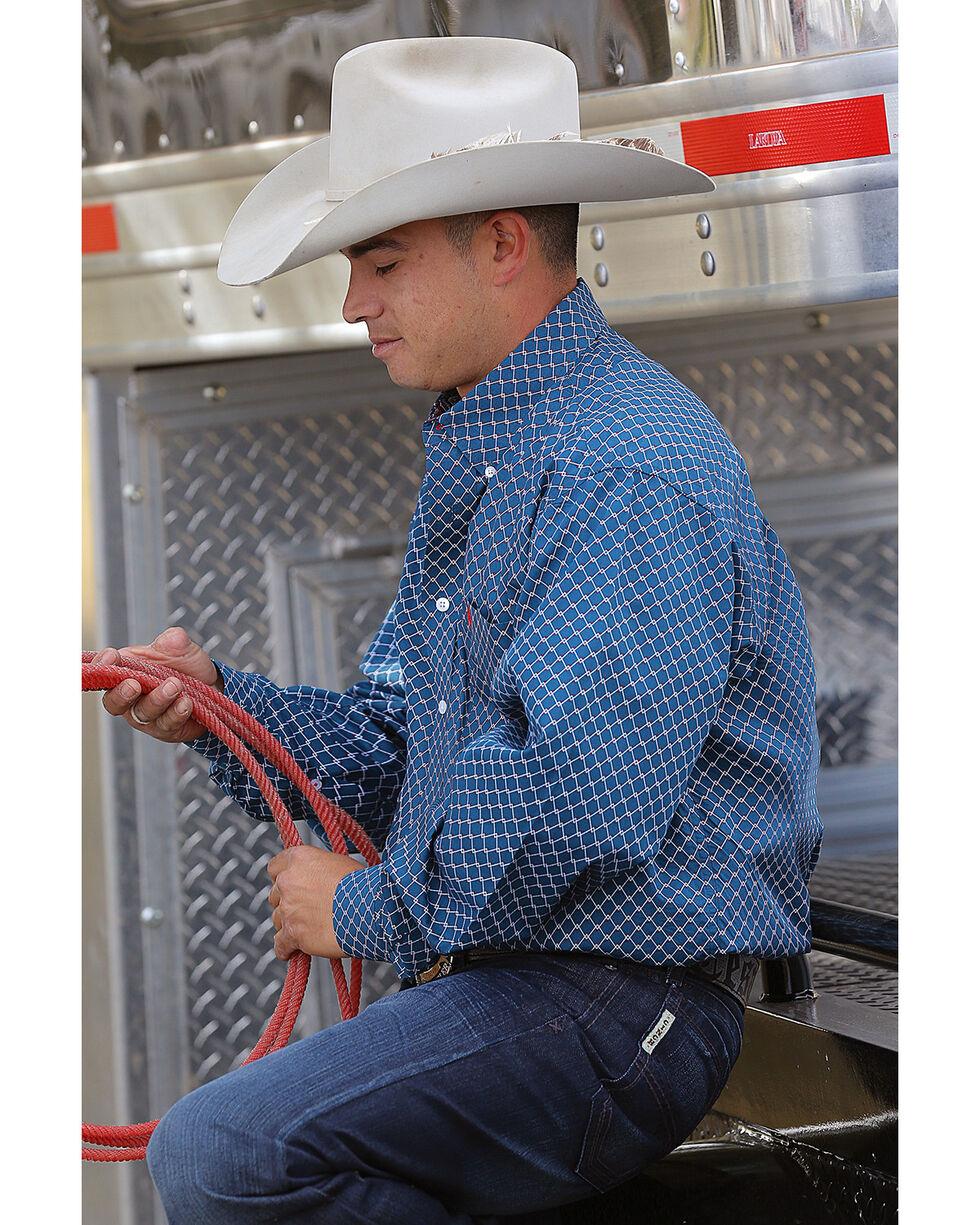 Cinch Men's Blue Chain Link Button-Down Western Shirt, Teal, hi-res