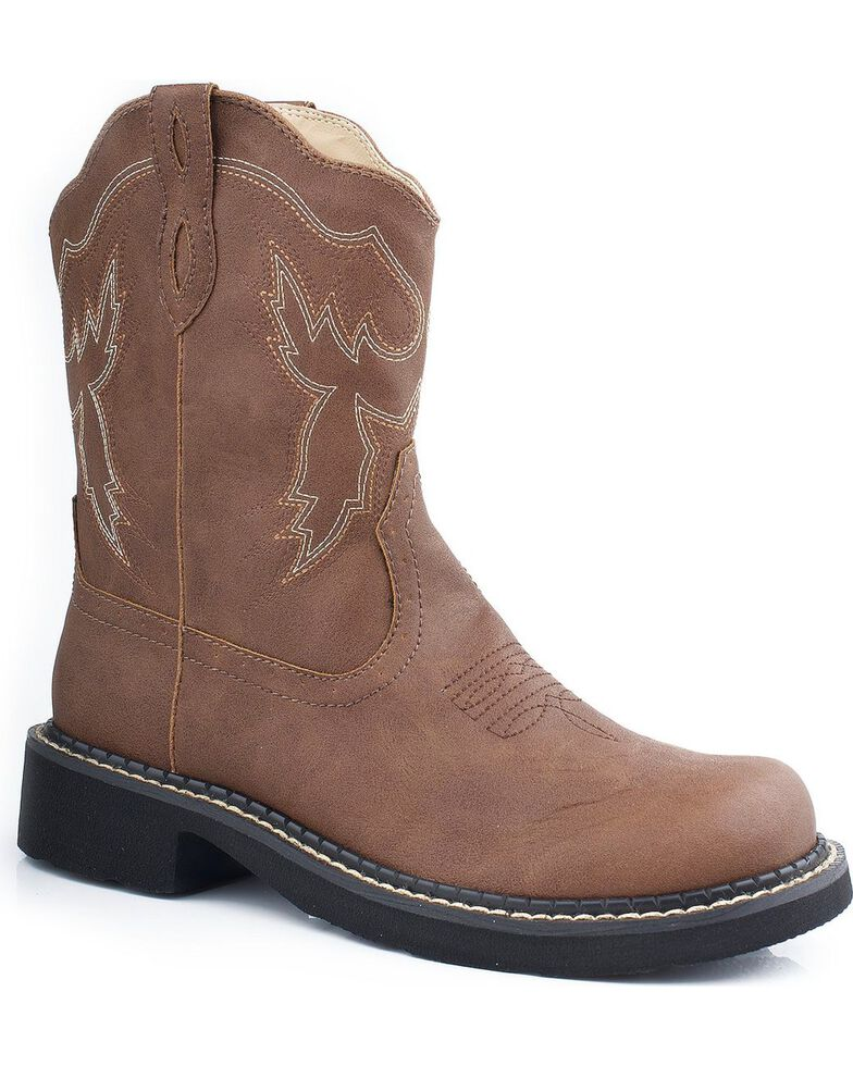 Roper Chunk Riderlite Cowgirl Boots - Round Toe, Brown, hi-res