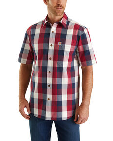 Carhartt Men's Red Essential Plaid Short Sleeve Work Shirt - Big, Red, hi-res