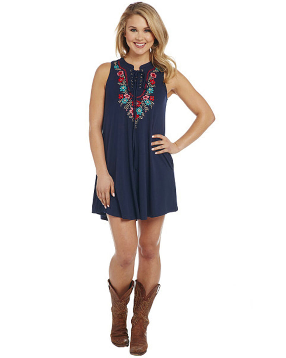 Cowgirl Up Women's Embroidered Sleeveless Lace Tie Front Dress, Black, hi-res