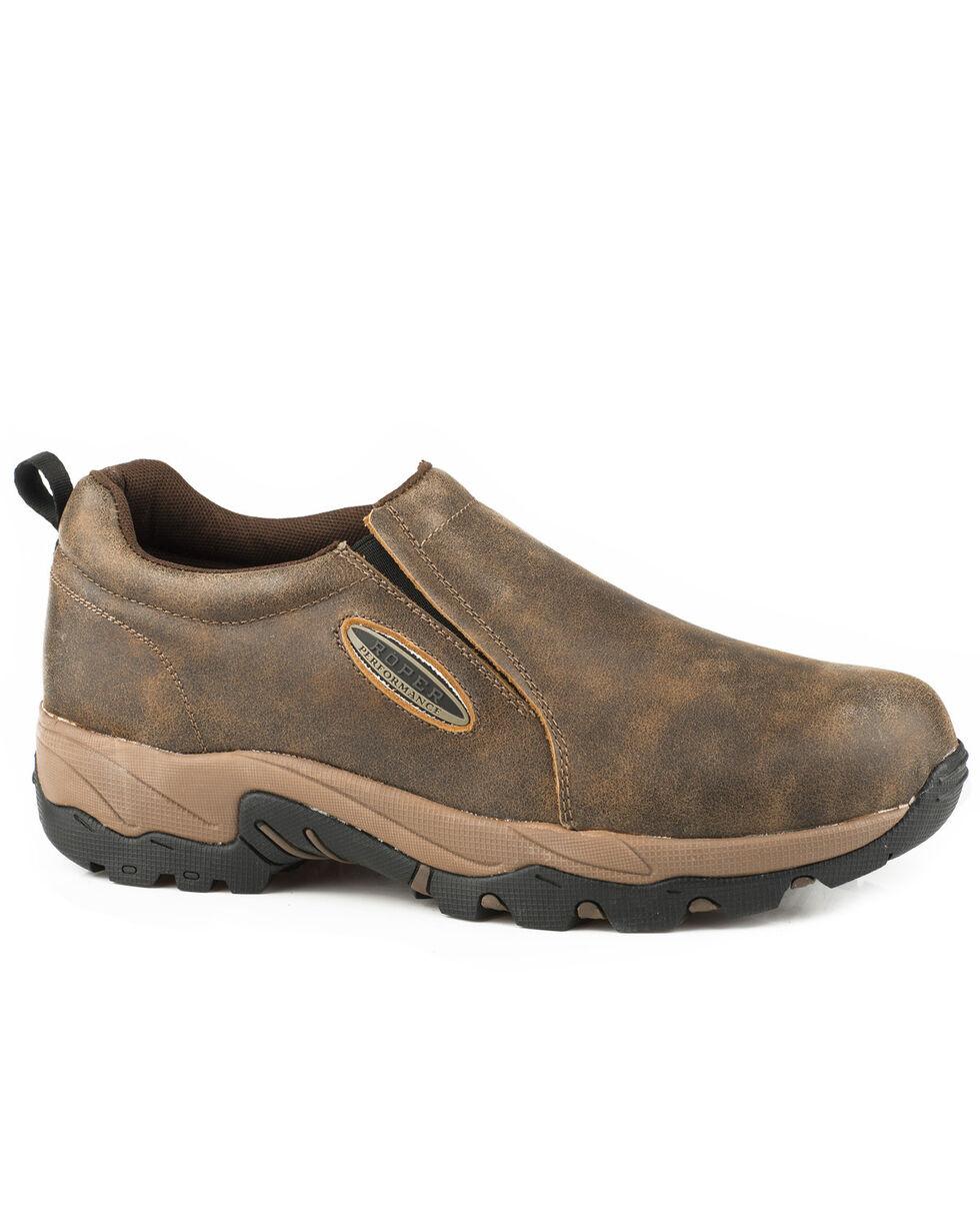 Roper Men's Air Light Brown Vintage Leather Slip On Shoes - Round Toe, Brown, hi-res