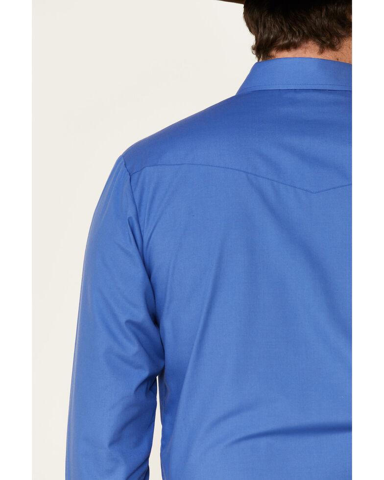 Roper Men's Solid Blue Classic Long Sleeve Snap Western Shirt , Blue, hi-res