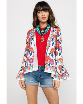 Flying Tomato Women's Floral Bell Sleeve Cardigan , Rust Copper, hi-res