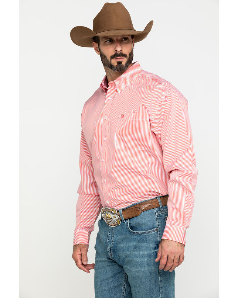 Cinch Men's Coral Tencel Striped Long Sleeve Western Shirt , Coral, hi-res