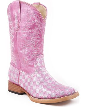 Roper Girls' Pink Glitter Checker Cowgirl Boots, Pink, hi-res