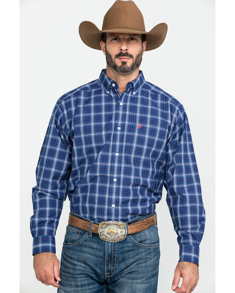 Ariat Men's Gadson Plaid Long Sleeve Western Shirt - Big , Blue, hi-res