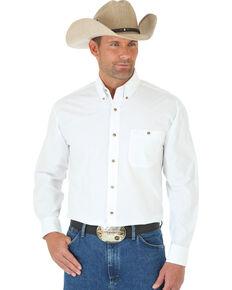 George Strait by Wrangler Men's White Long Sleeve Shirt - Tall, White, hi-res
