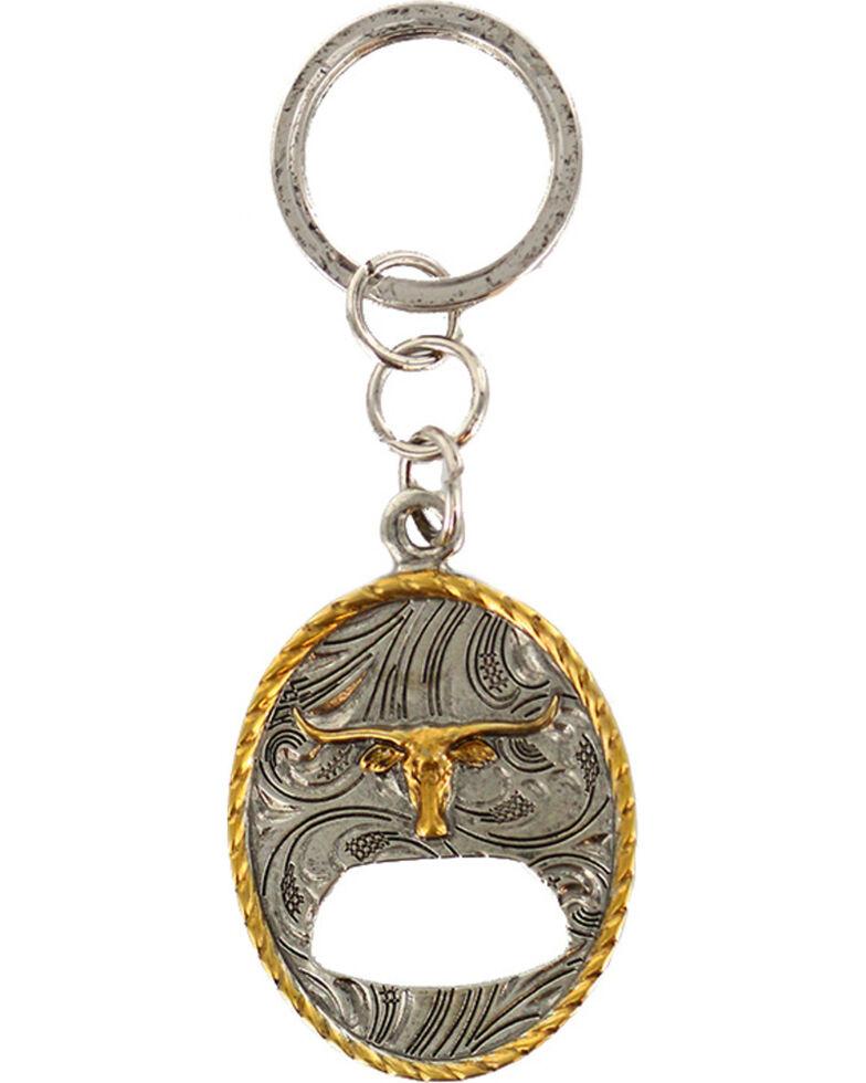 Cody James Long Horn Bottle Opener Keychain, Silver, hi-res
