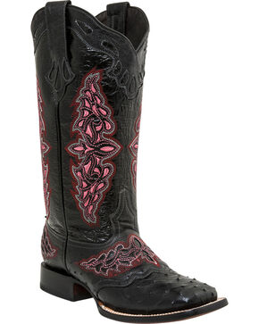 Lucchese Women's Handmade Black Amberlyn Full Quill Ostrich Boots - Square Toe , Black, hi-res