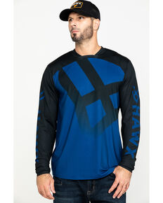 Hawx® Men's Blue Logo Moto Performance Long Sleeve Work T-Shirt - Tall , Blue, hi-res