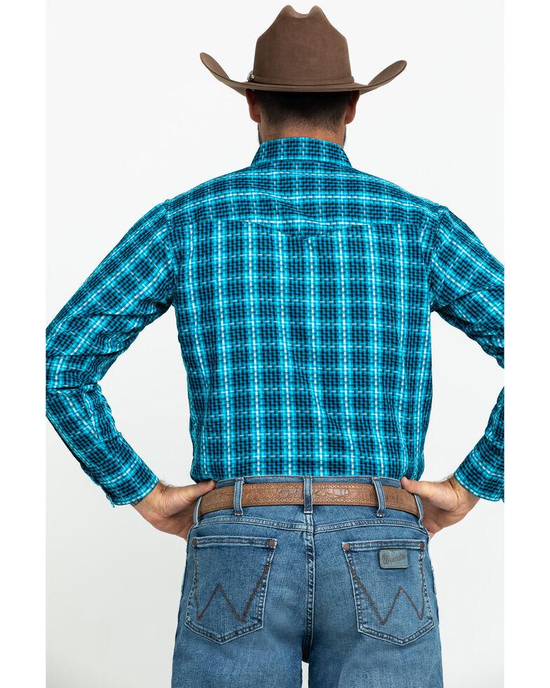 Wrangler Silver Edition Men's Teal Checotah Geo Print Long Sleeve Western Shirt , Teal, hi-res