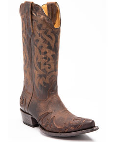 Moonshine Spirit Men's Mad Dog Bone Overlay Western Boots - Snip Toe, Brown, hi-res