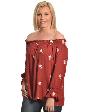 Ivory Love Women's Floral Embroidered Off The Shoulder Top, Rust Copper, hi-res