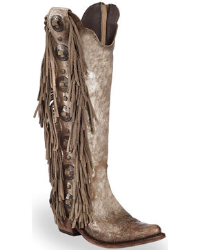 Liberty Black Women's Buffed Metal Concho Fringe Boots, Grey, hi-res