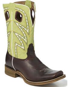 Nocona Men's Two Tone Saddle Stitch Cowboy Boots - Square Toe, Dark Brown, hi-res