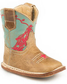 Roper Infant Girls' Rodeo Embroidery Western Boots - Square Toe, Purple, hi-res
