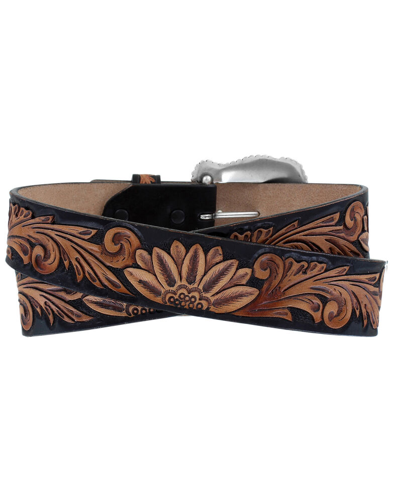 Tony Lama Women's Delheart Daisy Western Belt, Black, hi-res