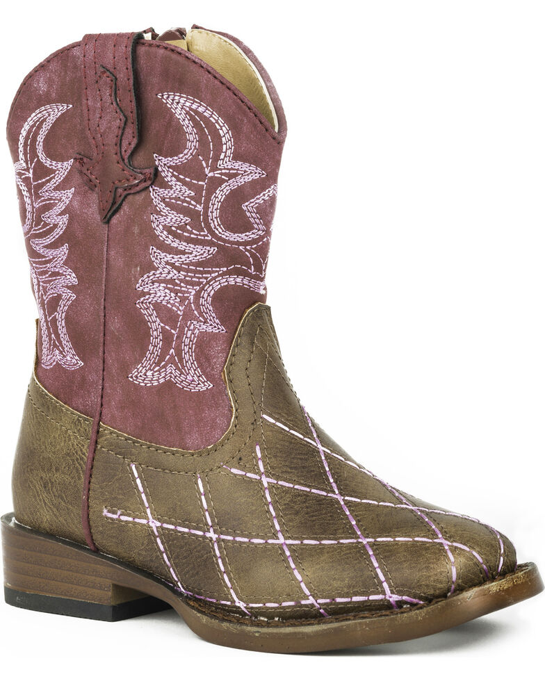 Roper Toddler Girls' Cross Cut Cowgirl Boots - Square Toe, Brown, hi-res