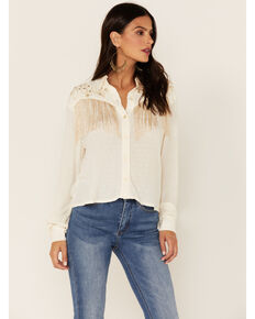Idyllwind Women's Cory Ray Off White Lurex Western Top, Off White, hi-res