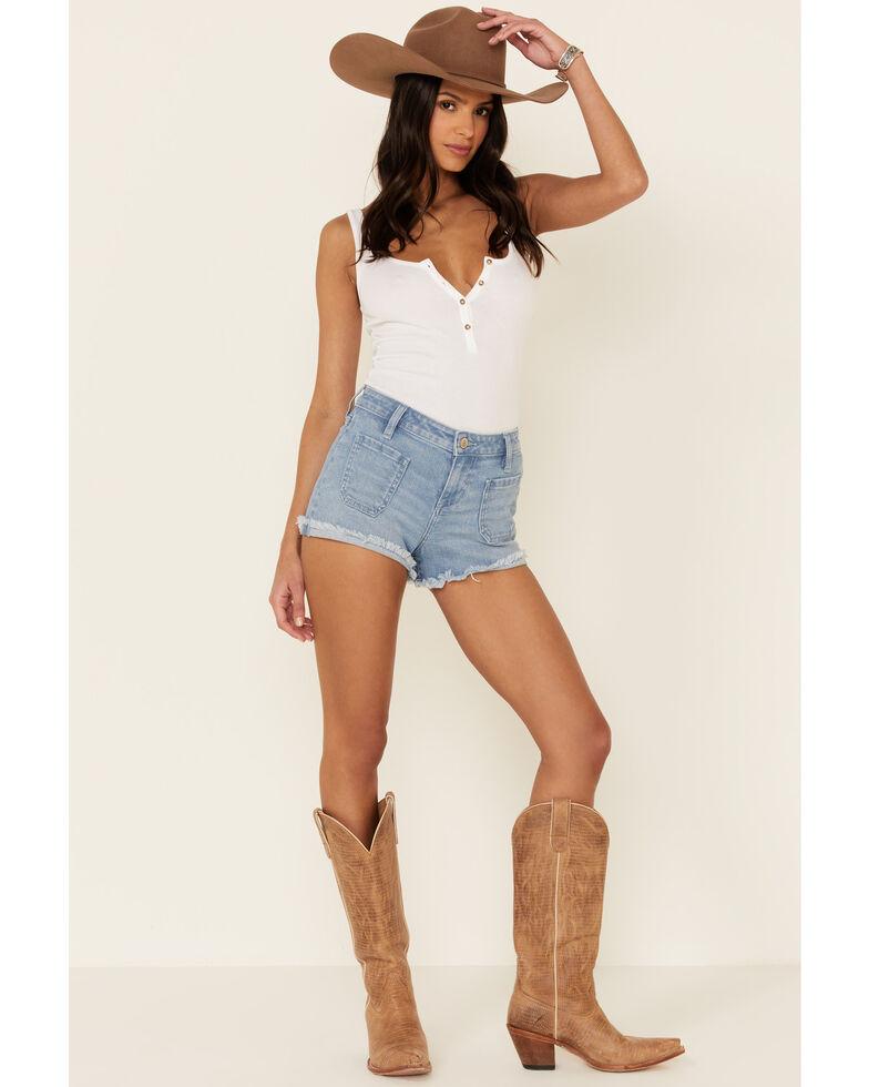 Shyanne Women's Patch Pockets Cuff Shorts, Light Blue, hi-res
