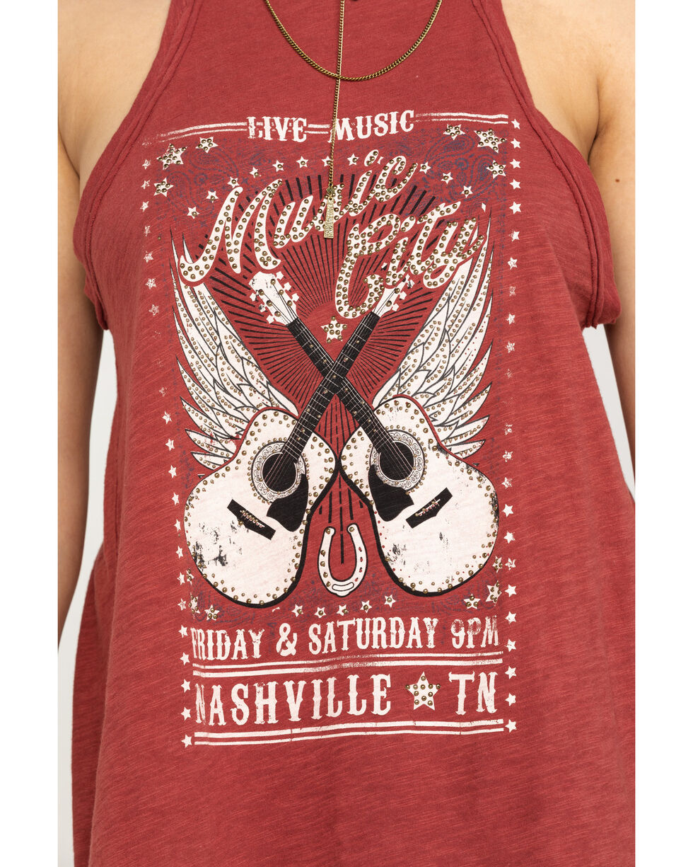 Shyanne Women's Rust Music City Graphic Halter Top, Rust Copper, hi-res