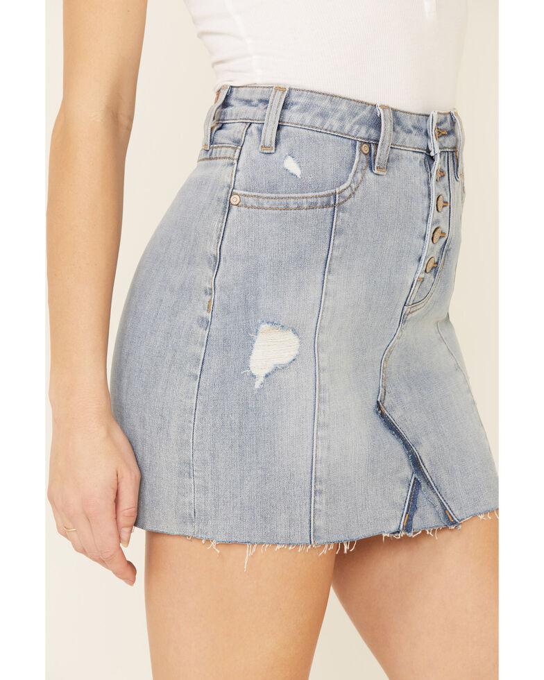 Rock & Roll Denim Women's Center Seam Denim Skirt, Blue, hi-res