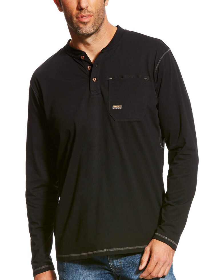 Ariat Men's Black Rebar Long Sleeve Pocket Henley , Black, hi-res