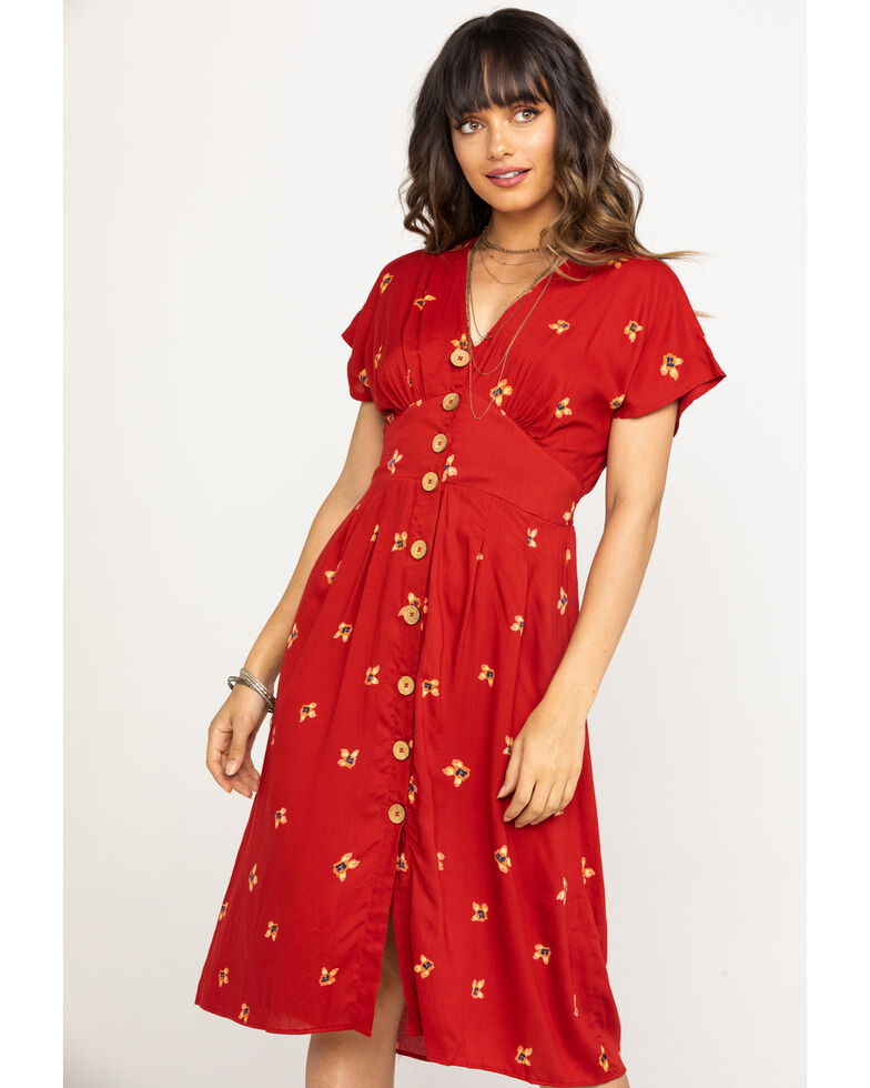 Angie Women's Red Floral Button Front Midi Dress, Red, hi-res