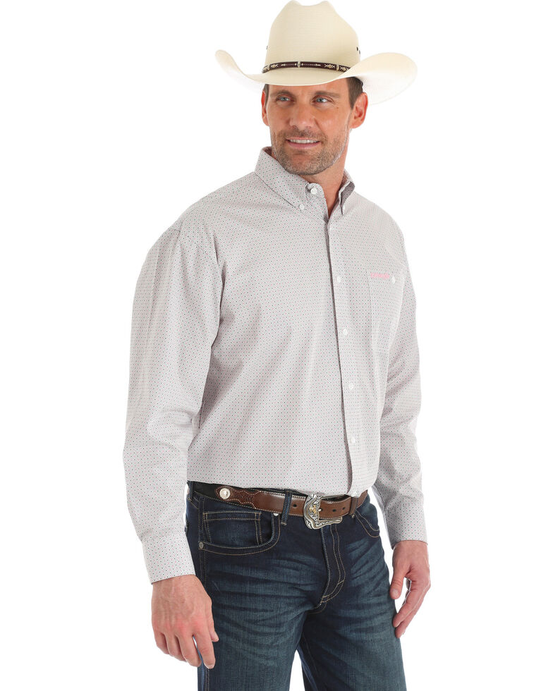 Wrangler Men's Tough Enough To Wear Pink Grey Geo Print Long Sleeve Western Shirt , Pink, hi-res