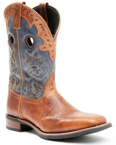Laredo Men's Blue Top Western Boots - Wide Square Toe, Tan, hi-res