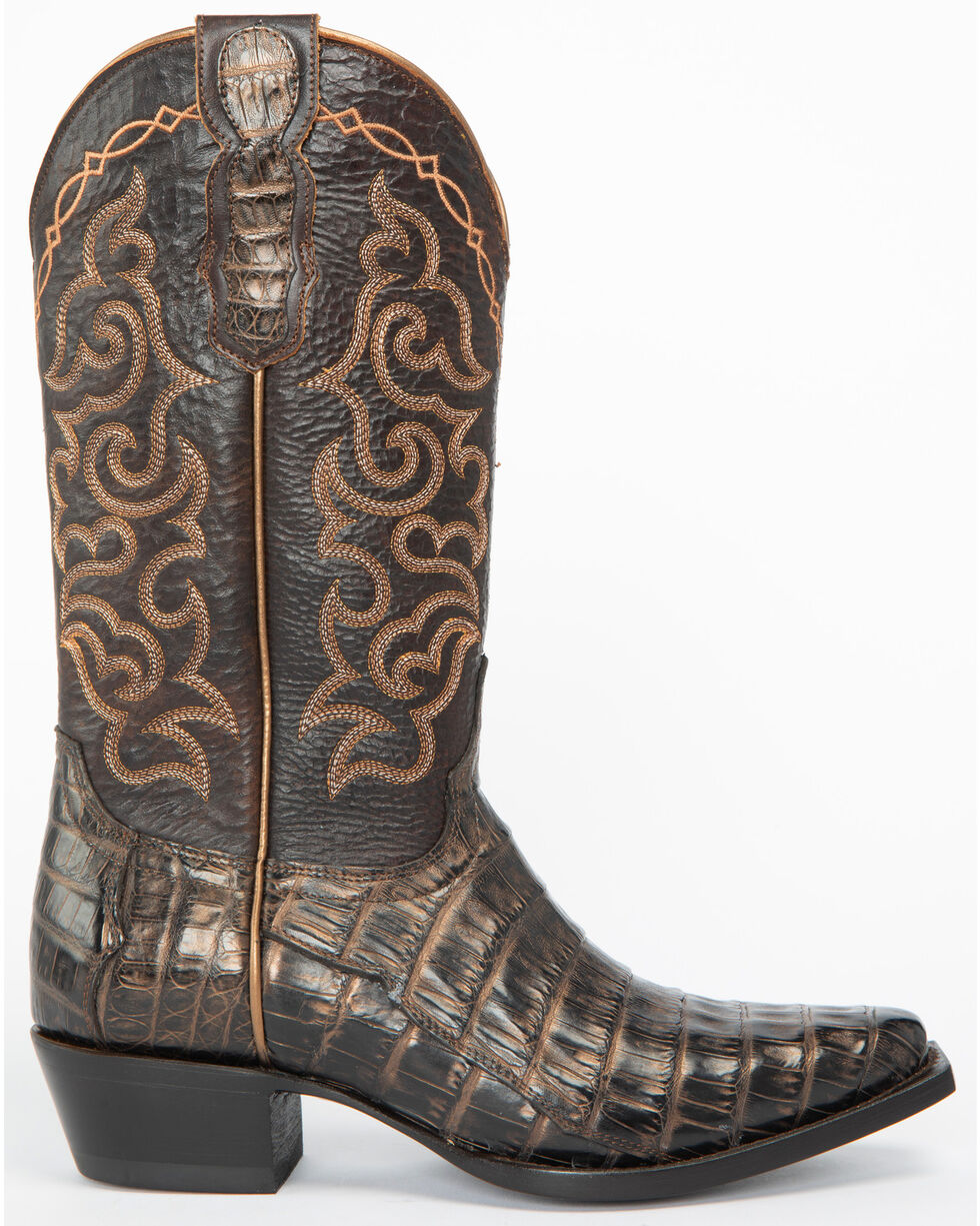 Shyanne Women's Bella Caiman Belly Western Boots - Snip Toe, Brown, hi-res