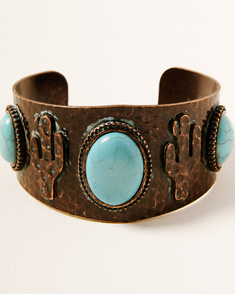 Shyanne Women's Crescent Bronze Large Hammered Cuff, Rust Copper, hi-res