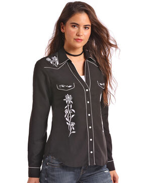 Panhandle Women's White Piping Embroidered Long Sleeve Western Shirt - Plus, Black, hi-res