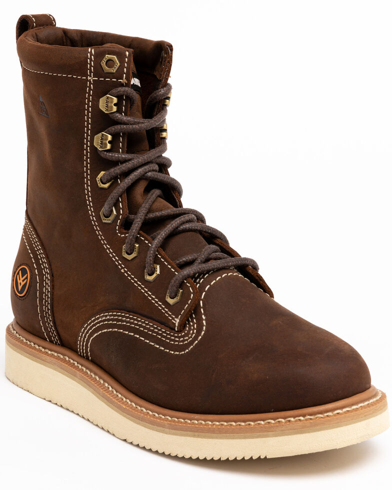 "Hawx Men's 8"" Lacer Work Boots - Soft Toe, Brown, hi-res"