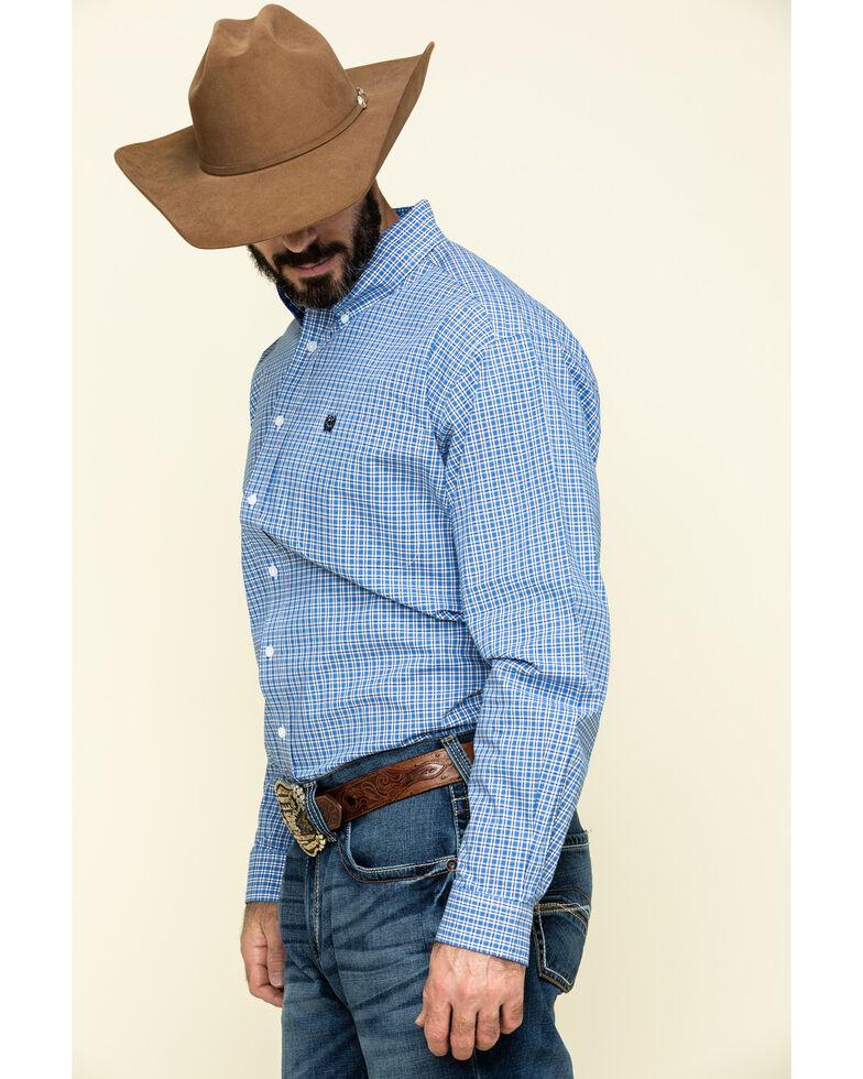 Cinch Men's Royal Blue Small Plaid Button Long Sleeve Western Shirt , Royal Blue, hi-res