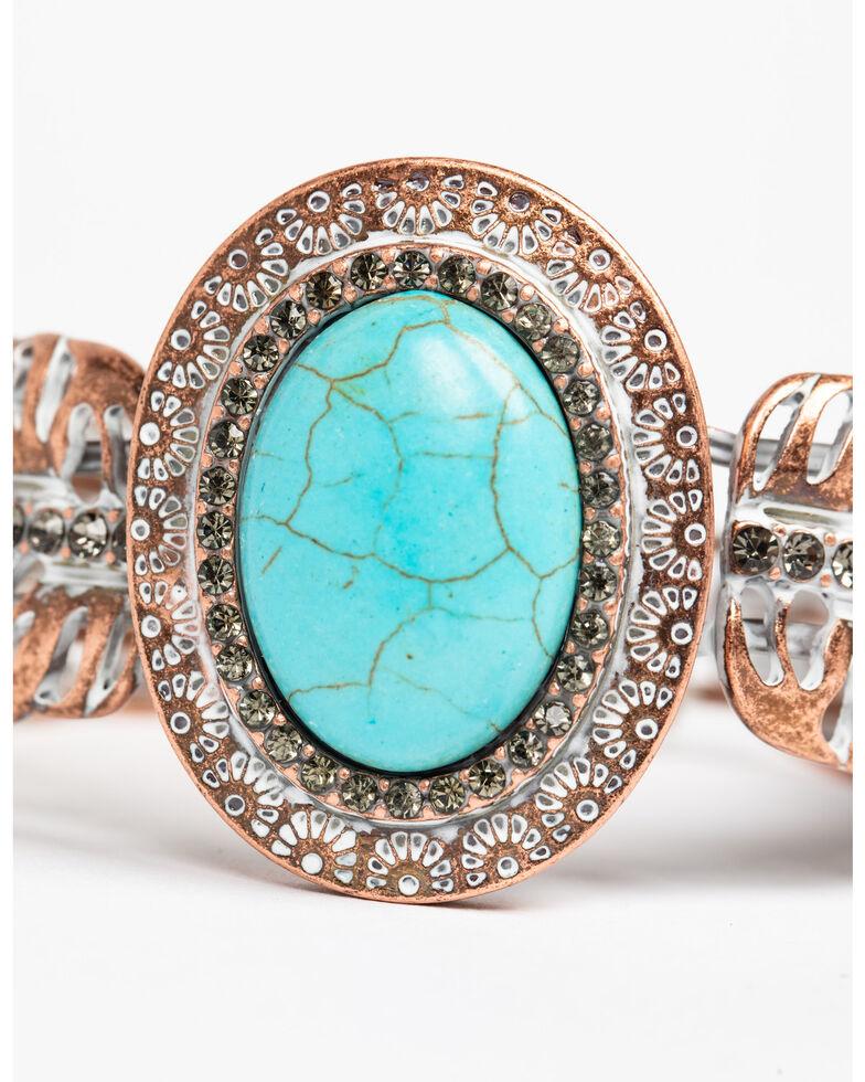 Shyanne Women's Wanderlust Glitzy Turquoise Feather Cuff, Tan/copper, hi-res
