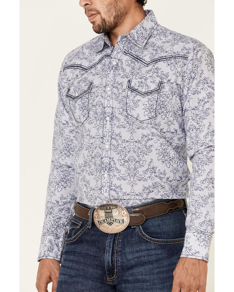 Rock 47 By Wrangler Men's Navy Paisley Print Long Sleeve Western Shirt , Navy, hi-res