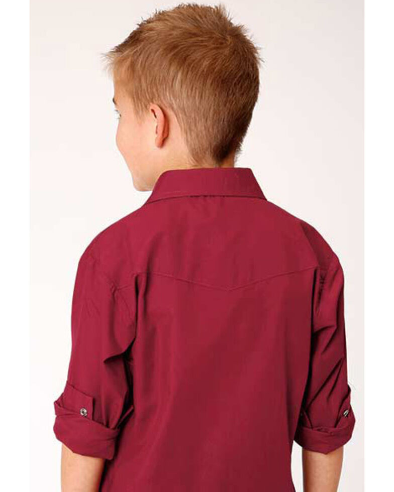 Roper Boys' Classic Red Solid Broadcloth Long Sleeve Western Shirt , Red, hi-res