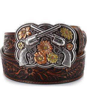 Details about  /Justin Ladies Floral Tooled Leather Ladies Belt American Pride Buckle Brown U-02
