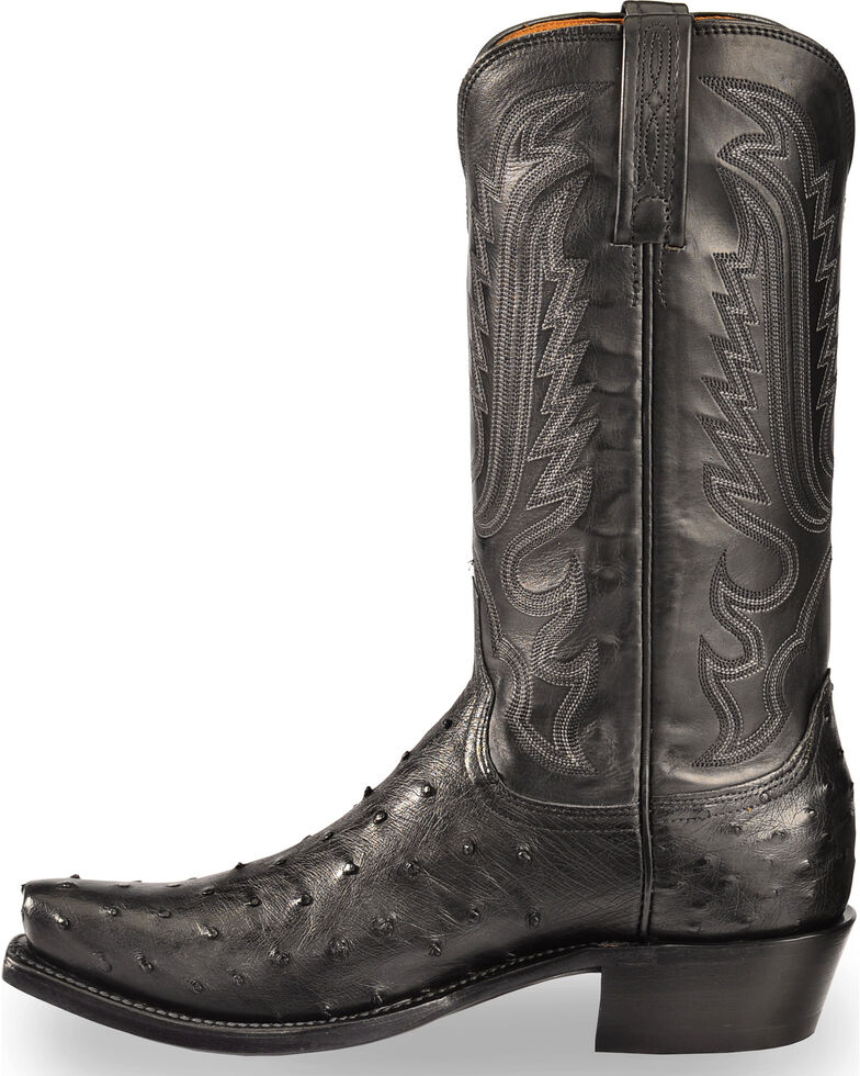 Lucchese Men's Handmade Black Luke Full Quill Ostrich Boots - Snip Toe , Black, hi-res