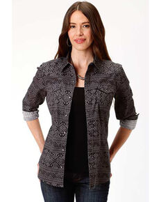 West Made Women's Black Aztec Print Long Sleeve Western Shirt , Black, hi-res