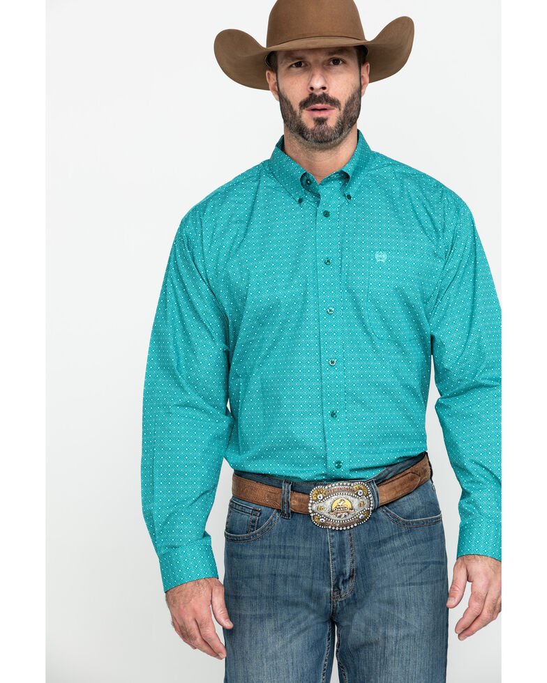 Cinch Men's Dark Green Small Geo Print Long Sleeve Western Shirt , Green, hi-res