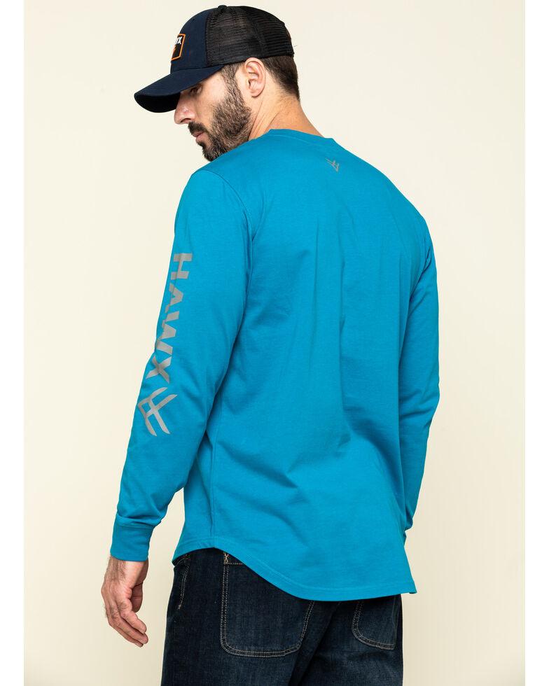 Hawx Men's Teal Sleeve Logo Long Sleeve Work T-Shirt - Tall , Teal, hi-res