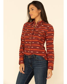 Shyanne Women's Red Aztec Stripe Button Long Sleeve Shirt, Red, hi-res
