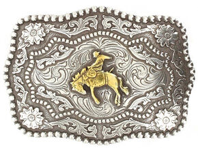 Cody James Men's Bucking Bronc Belt Buckle, Silver, hi-res