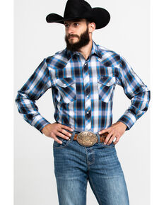 Roper Men's Blue Med Plaid Long Sleeve Western Shirt , Blue, hi-res