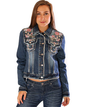Grace in LA Women's Embroidered Jean Jacket, Indigo, hi-res