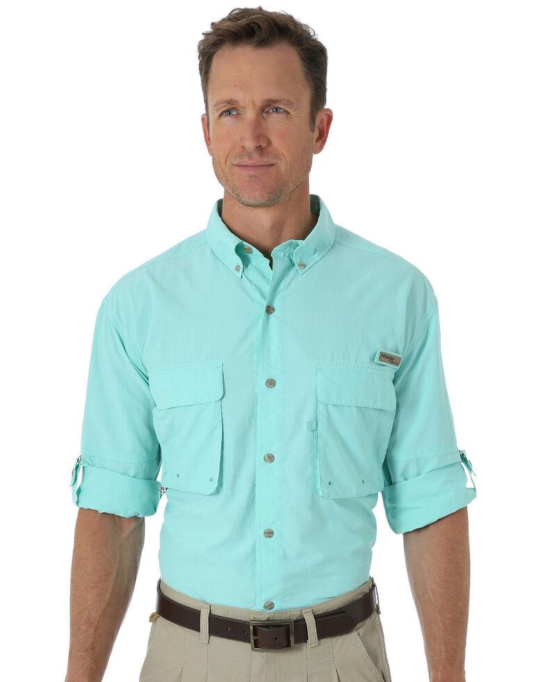 Wrangler Men's ProGear® Long Sleeve Angler Shirt, Teal, hi-res