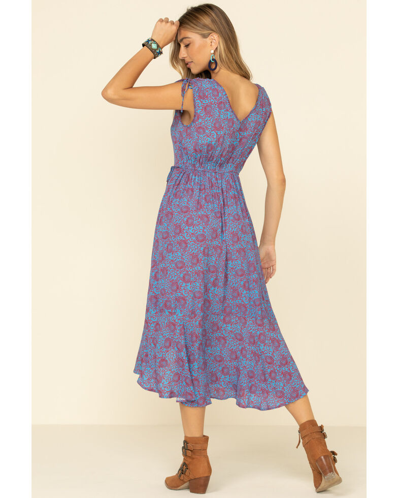 Band of Gypsies Women's Blue Floral Maxi Dress, Blue, hi-res